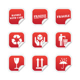 Fragile stickers. Collection of red fragile stickers on white background stock illustration