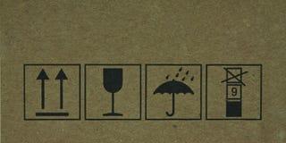 Fragile symbol. The fragile symbol on cardboard stock images