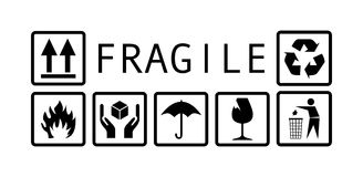 Fragile symbol black and white Stock Photography