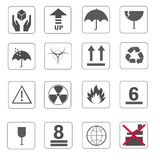 Fragile symbol and symbol of packing box icons set  Stock Photography