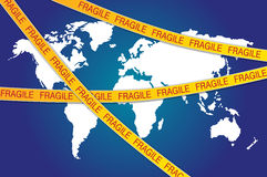 Fragile tape all over world map. Illustration of fragile tape all over world map. Concept of world vulnerability. Additional vector file is available Royalty Free Stock Image