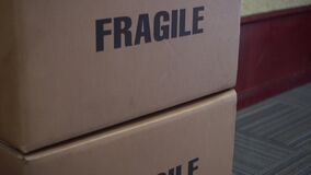 Fragile text warning on paper boxes package video