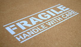 Fragile Warning Sign. Fragile Handle With Care Sign On A Package royalty free stock images