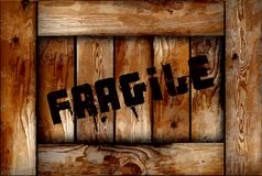 Fragile wooden box background. Vector Royalty Free Stock Image