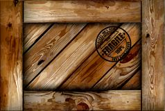 Fragile wooden box with stamp. Vector background Royalty Free Stock Photography