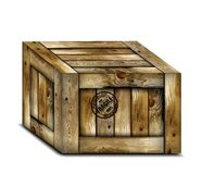 Fragile wooden box with stamp. Vector Stock Image