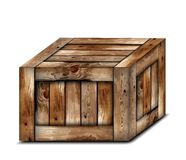 Fragile wooden box. Vector illustration Stock Images