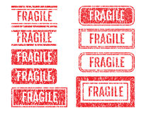 Fragile Word Rubber Stamps Grunge Style Set Royalty Free Stock Photography