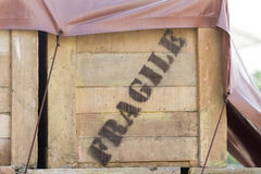 Fragile word on wooden box Stock Image