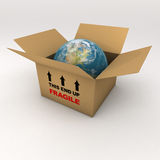 The Fragile World in a Cardboard Box Stock Photography