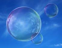 Fragilidad de la ligereza del cielo de la burbuja de jab?n stock de ilustración