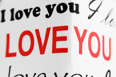 Fragment of  �I love you� superscription Royalty Free Stock Image