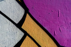 Fragment élégant de mur avec le détail du graffiti, art de rue Couleurs créatives abstraites de mode de dessin Plan rapproché pei Photographie stock libre de droits