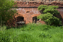 A fragment of an abandoned ancient city walls. Kronstadt Royalty Free Stock Photos