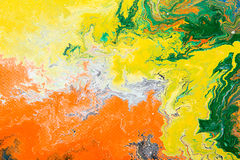 Fragment of abstract artwork. Closeup view of an original abstract oil painting on canvas. Grunge background, fragment of artwork, spot of paint, modern art Stock Photo