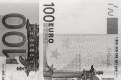 Fragment abstrait le billet de banque de 100 euros Photographie stock