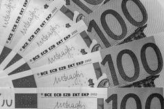 Fragment abstrait le billet de banque de 100 euros Image stock