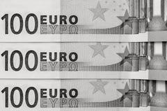 Fragment abstrait le billet de banque de 100 euros Images libres de droits