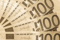 Fragment abstrait le billet de banque de 100 euros Image libre de droits
