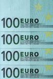 Fragment abstrait le billet de banque de 100 euros Photos libres de droits