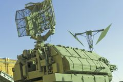 Fragment Air Defense, locators and antennas for detecting enemy. Anti-aircraft and anti-missile defense. Locators and relay stations for detecting enemy military Stock Photography
