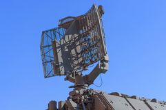 Fragment of air defense radar station against the blue sky. Air Defense on courtyard of Military History Museum of artillery, engineer and signal corps in St Royalty Free Stock Photos