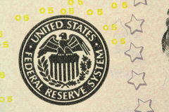 A fragment of the American bills of five dollars background Royalty Free Stock Photos