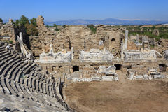 Fragment of amphitheater of ancient Side in Turkey Royalty Free Stock Photos