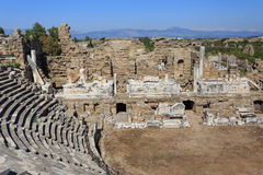 Fragment of amphitheater of ancient Side in Turkey Stock Images