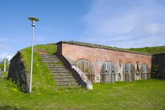 Fragment of the ancient bastion on a sunny June day. Hamina. Finland Stock Photo