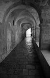 Fragment of ancient building in Jerusalem. Jewish quarter in Jerusalem. Black and White Stock Images