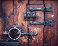 Fragment of ancient door. Closeup Royalty Free Stock Image