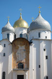A fragment of an ancient icon over the gates of St. Sophia Cathedral in Veliky Novgorod Stock Images