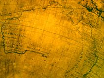 Fragment of ancient map (Australia). Fragment of ancient map with Australia and a lot of latin inscriptions Stock Photo