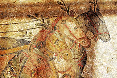 A fragment of an ancient mosaic Villa del Casale. Royalty Free Stock Photos