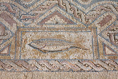 Fragment of ancient religious mosaic in Kourion, Cyprus Stock Photos