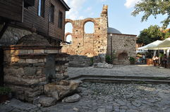 Fragment of ancient ruins, old streets of Nessebar Royalty Free Stock Image