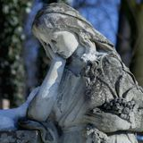 Fragment of ancient statue of Mary Magdalene Prayer, faith, rel. Igion, love, hope concept stock photos