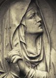 Fragment of ancient statue of Mary Magdalene Prayer, faith, rel. Igion, love, hope concept stock images
