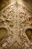 Fragment of ancient stone carving on ceiling Royalty Free Stock Photos