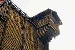 Part of an ancient wooden fort with a tower and a window Royalty Free Stock Images