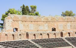 Fragment of antique amphitheater Teatro Greco in Taormina, Sicily, Italy stock photos