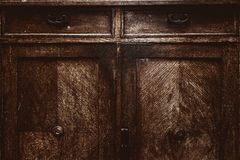 Fragment of antique furniture. Vintage wood surface. grunge background, old rough texture Royalty Free Stock Photos
