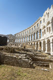 A fragment of antique Roman amphitheater in Pula Royalty Free Stock Photo