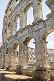 A fragment of antique Roman amphitheater wall in Pula Stock Photos