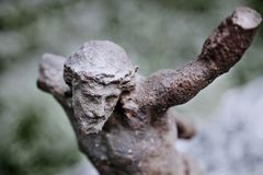 Fragment of antique statue the suffering of Jesus Christ royalty free stock images