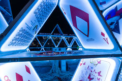 Fragment of an art installation House of Cards on Potsdamer Platz. Royalty Free Stock Photo