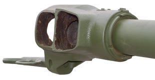 Fragment of an artillery gun barrel against white. Background Stock Images