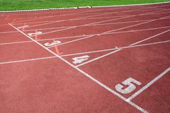 A fragment of an athletics track royalty free stock photography