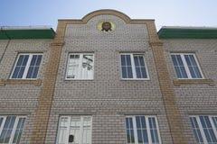 Fragment av byggnaden av den ortodoxa negro spiritual och den bildande mitten i namnet av St Stephen av permanenten i Kotlas royaltyfri fotografi